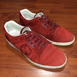 Gucci Men's Suede Sneakers in Red